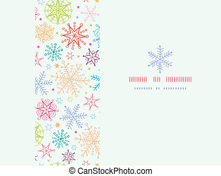 Colorful Doodle Snowflakes Horizontal Frame Seamless Pattern Background