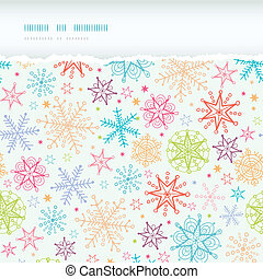Colorful Doodle Snowflakes Horizontal Torn Frame Seamless Pattern Background