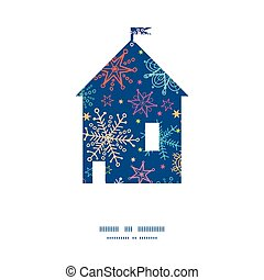 Vector colorful doodle snowflakes house silhouette pattern frame