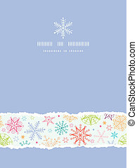 Colorful Doodle Snowflakes Vertical Torn Frame Seamless Pattern Background