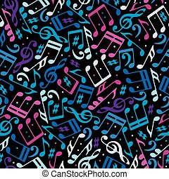 Vector colorful dotted music seamless pattern with musical notes
