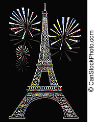 colorful eiffel tower - vector colorful eiffel tower