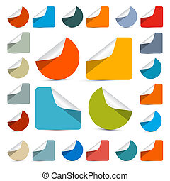 Vector Colorful Empty Stickers - Labels Set Isolated on White Background