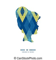 Vector colorful fabric ikat diamond girl portrait silhouette pattern frame