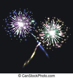 Vector Colorful Fireworks, Festive Shining Elements on Dark Background.