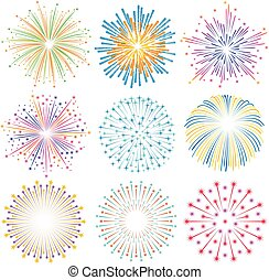 Vector colorful Fireworks Illustrations set