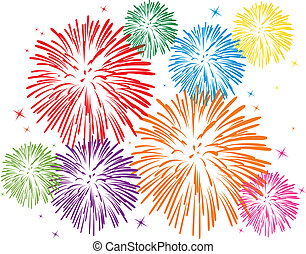 colorful fireworks - vector colorful fireworks on white ...