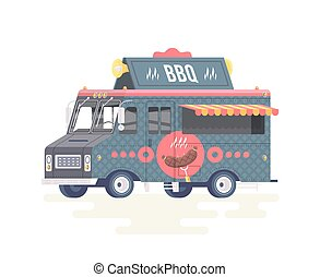 Vector colorful flat barbecue truck. Food truck. Isolated on white background.