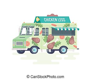 Vector colorful flat chicken legs truck. Food truck. Isolated on white background.