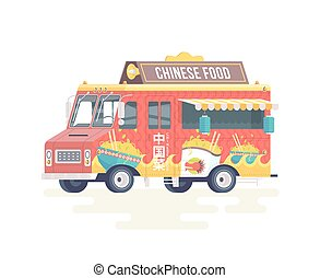 Vector colorful flat Chinese food truck. Food truck. Isolated on white background.