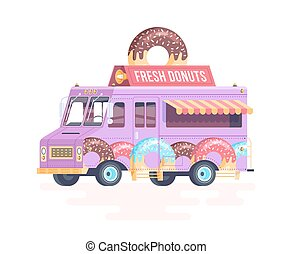 Vector colorful flat donut truck. Isolated on white background.