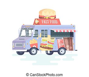 Vector colorful flat fast food truck. Food truck. Isolated on white background.