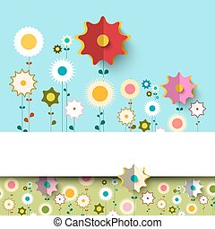 Vector Colorful Flat Flowers Background