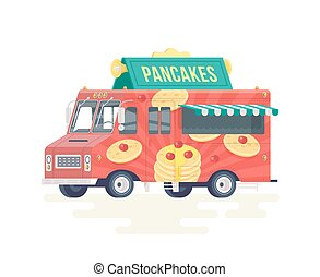 Vector colorful flat fresh pancakes truck. Food truck. Isolated on white background.