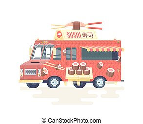 Vector colorful flat Japanese sushi truck. Food truck. Isolated on white background.