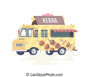 Vector colorful flat kebab truck. Food truck. Isolated on white background.