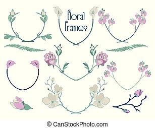 Vector Colorful Floral Text Frames, Branches, Laurels