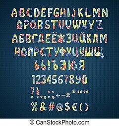 Vector colorful flower patchwork font