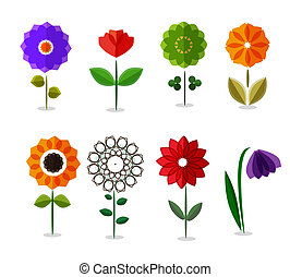 vector colorful flowers icon set isolated on white