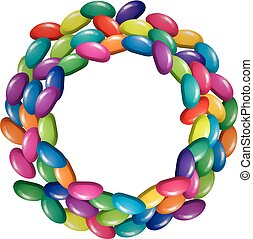 vector assortment of colorful fruit gelatin jelly beans. round border background of fruit jellies