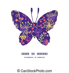 Vector colorful garden plants butterfly silhouette pattern frame