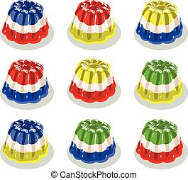 vector colorful gelatin jelly or pudding assortment isolated on white background, dessert candy jello set, bright colors flat illustration