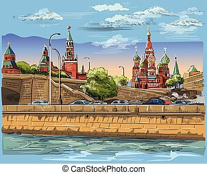 Vector colorful hand drawing Moscow-4