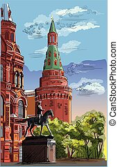 Vector colorful hand drawing Moscow-7