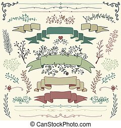 Vector Colorful Hand Drawn Floral Design Elements