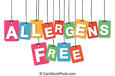 Vector colorful hanging cardboard. Tags - allergens free