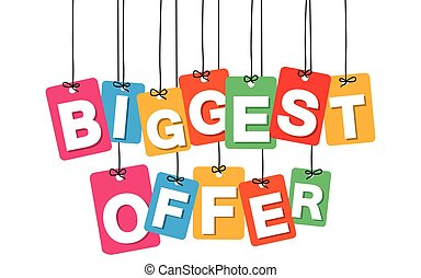 Vector colorful hanging cardboard. Tags - biggest offer