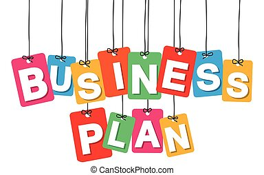 Vector colorful hanging cardboard. Tags - business plan
