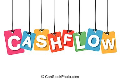 Vector colorful hanging cardboard. Tags - cashflow on white...