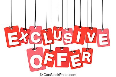 Vector colorful hanging cardboard. Tags - exclusive offer