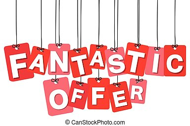 Vector colorful hanging cardboard. Tags - fantastic offer