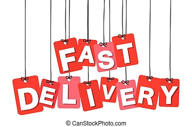 Vector colorful hanging cardboard. Tags - fast delivery