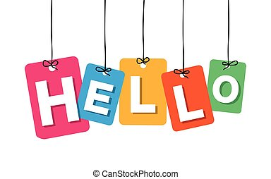 Vector colorful hanging cardboard. Tags - hello