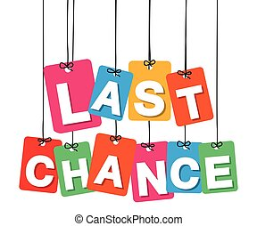 Vector colorful hanging cardboard. Tags - last chance on...