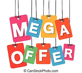 Vector colorful hanging cardboard. Tags - mega offer