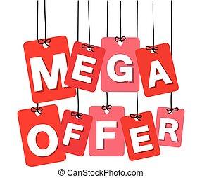 Vector colorful hanging cardboard. Tags - mega offer