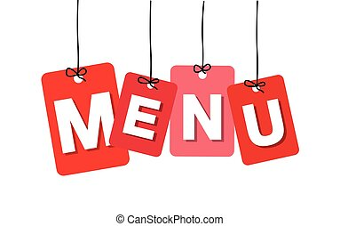 Vector colorful hanging cardboard. Tags - menu