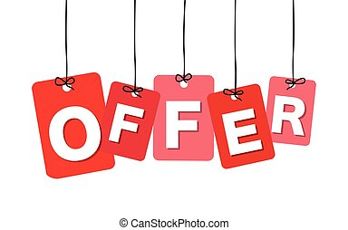 Vector colorful hanging cardboard. Tags - offer