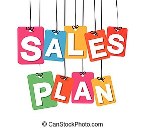 Vector colorful hanging cardboard. Tags - sales plan