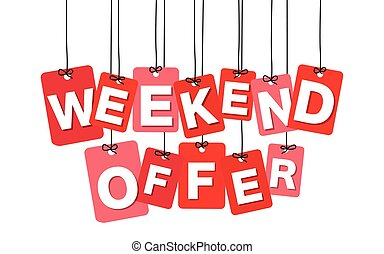 Vector colorful hanging cardboard. Tags - weekend offer