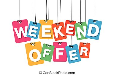 Vector colorful hanging cardboard. Tags - weekend offer on...