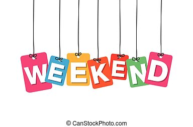 Vector colorful hanging cardboard. Tags - weekend