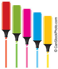 colorful highlighters - vector colorful highlighters