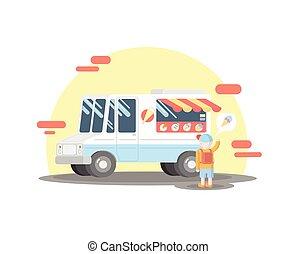 Vector colorful ice cream truck. Vector