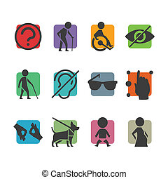 Vector colorful icon set of access signs for physically...