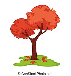 Vector colorful illustration in flat of tree with pink leaves